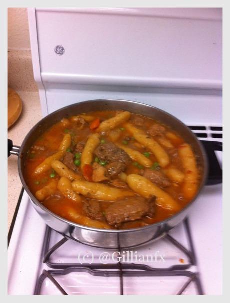 Cassava dumpling stew in a pot