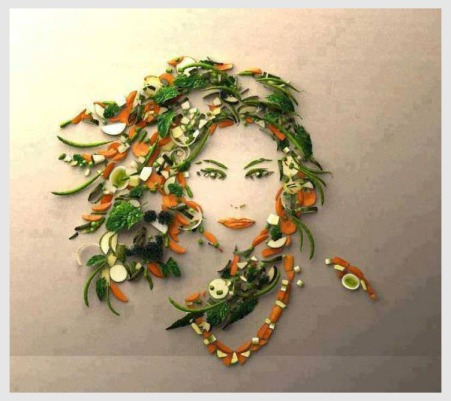 Woman's face made with veggies